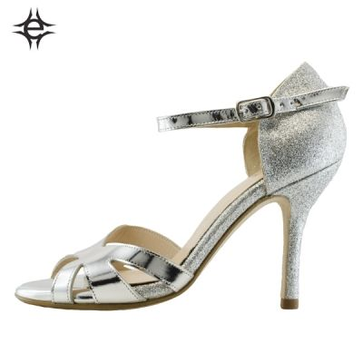 TANGO SHOES FOR WOMEN in silver metallic leather and glitter fabric. Exclusive memory foam insole for an unbeatable comfort.