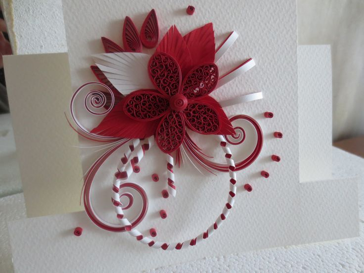 RED AND WHITE QUILLING BIRTHDAY CARD