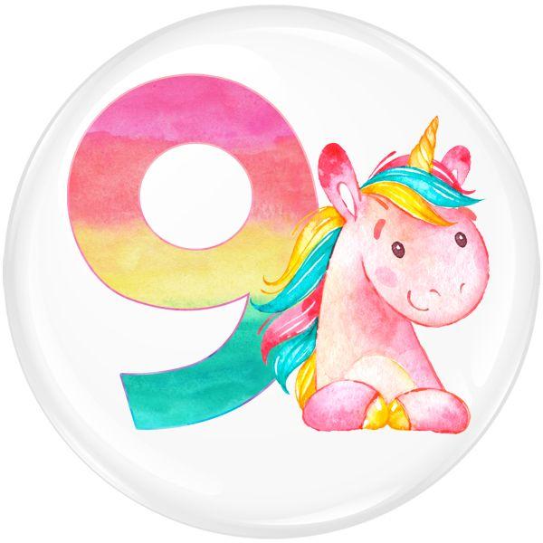 Unicorn 9 Age Birthday Party Badge #456