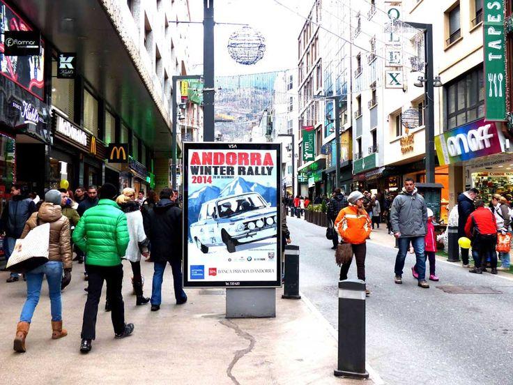 Publicidad Exterior: Mobiliario Urbano en Andorra personalizado para la empresa BPA, patrocinador de ANDORRA WINTER RALLY