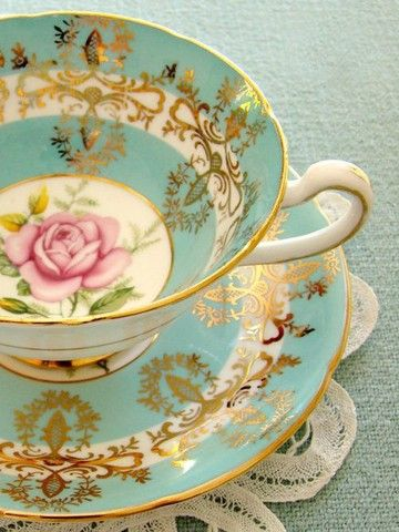 Turquois and pink rose antique china cup...beautiful