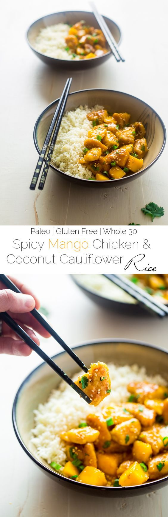 Mango Chicken With Coconut Cauliflower Rice {Whole 30 + Paleo + High Protein} #justeatrealfood #foodfaithfitness