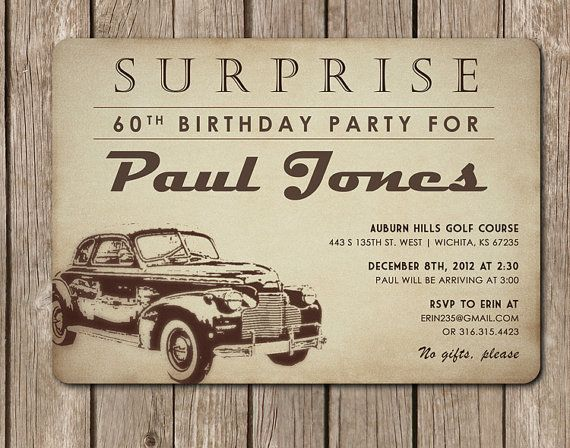 Antique Car Invitation perfect for a dad's by pinkcreativeinvites, $5.00