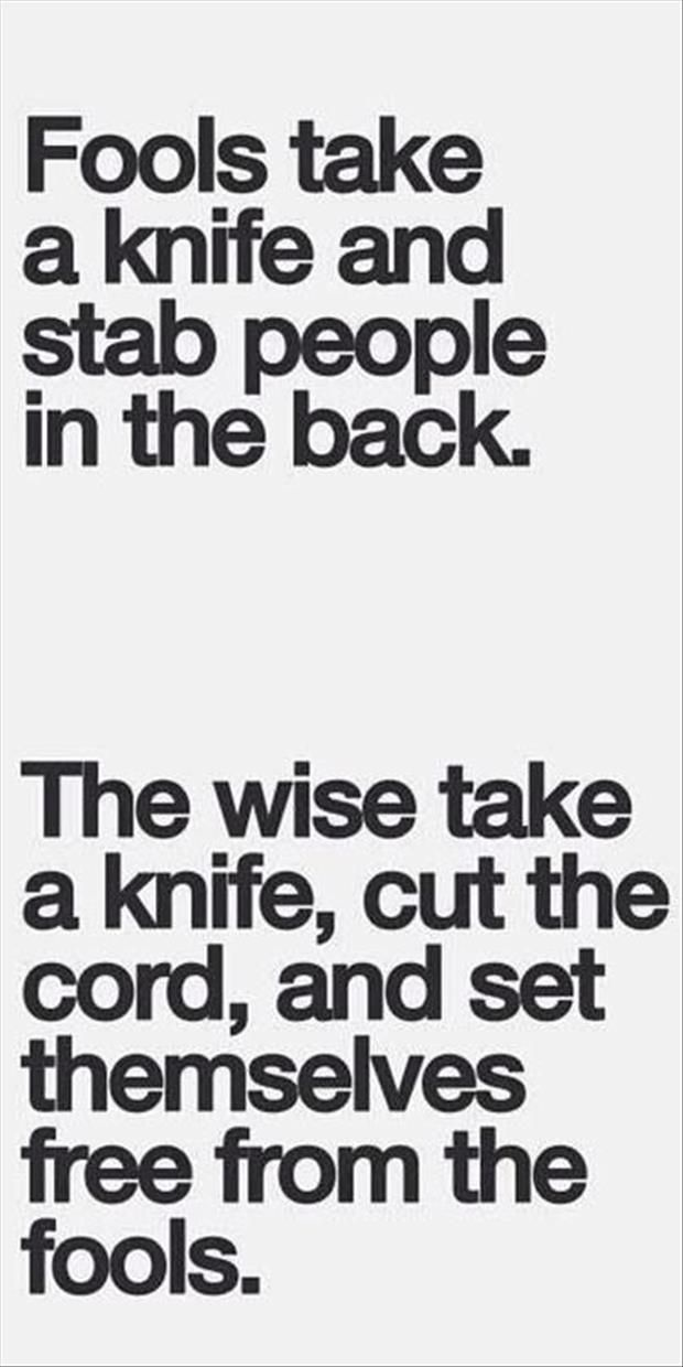 Love Love LOVE this Quote! Fools take a Knife and Stab People in the Back! The Wise take the Knife, cut the Cord, and set them free.