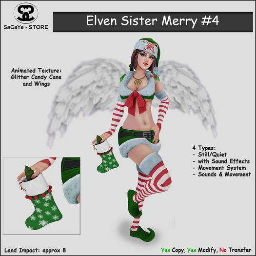 Secondlife, Second Life Marketplace, SaCaYa, Mesh, Elf, Elven, Santa's Lil Helper, Christmas, Xmas