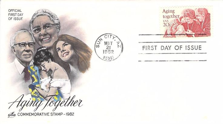1982 Aging Together Hand Colored Art Craft First Day Cover