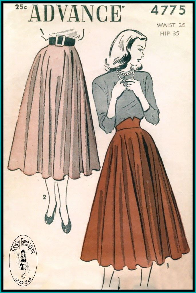Advance 4775-1948  Vintage Sewing Patterns Advance 1940s Skirts Circle Skirts Contour Belt