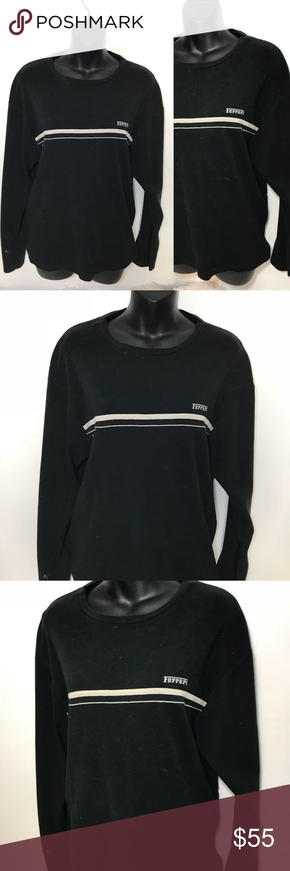 Ferrari Black and White Crew Neck Long Sleeve Great condition no rips or stains. Authentic Ferrari merchandise  -All measurements in inches taken laying flat on a table    -add your items to a bundle so I can make you a discount offer!  -some items prices are firm unless bundled  -no holds  -no trades  -same day or next day shipping Ferrari Shirts Tees - Long Sleeve