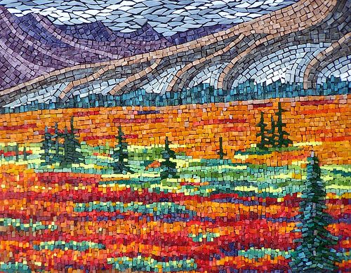 Taiga's Edge: Glasses Stuff, Mosaics Art, Mosaics Stained Glasses, Taiga Edge, Mosaics Landscape, Terry Nichols, Mosaics Treasure, Mosaics Ideas, Mosaics Inspiration