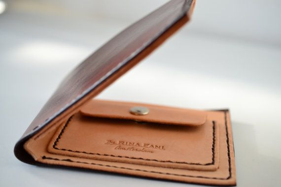 Duo color men's wallet, leather bifold wallet, personal initials brown wallet
