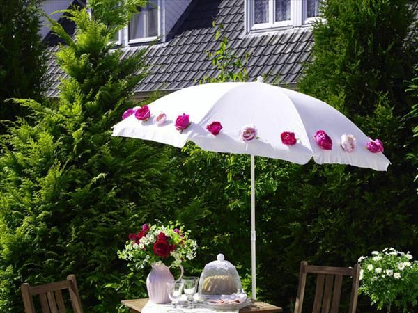 Garden party decorations sunshade roses adorn