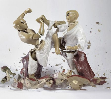 Action packed images captured using high speed photography by talented German photographer Martin Klimas.      Porcelain figurines were dropped on the ground from the height of 10 feet and the sound of the impact triggered the camera.Photographers, Photos, Martinklima, Martin Klimas, Action Figures, Martial Art, Porcelain Figures, Photography, Porcelain Figurines
