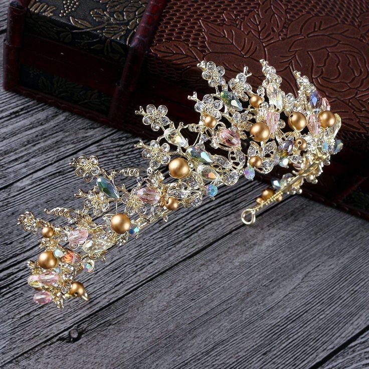 Luxury Gold pearl bridal crowns handmade tiara wholesale headband crystal wedding diadem queen crown wedding hair accessories