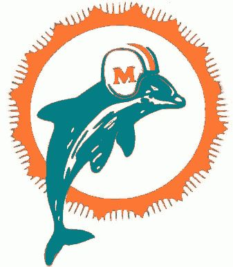 Miami Dolphins Primary Logo (1966) - Aqua dolphin leaping in front of an orange sunburst