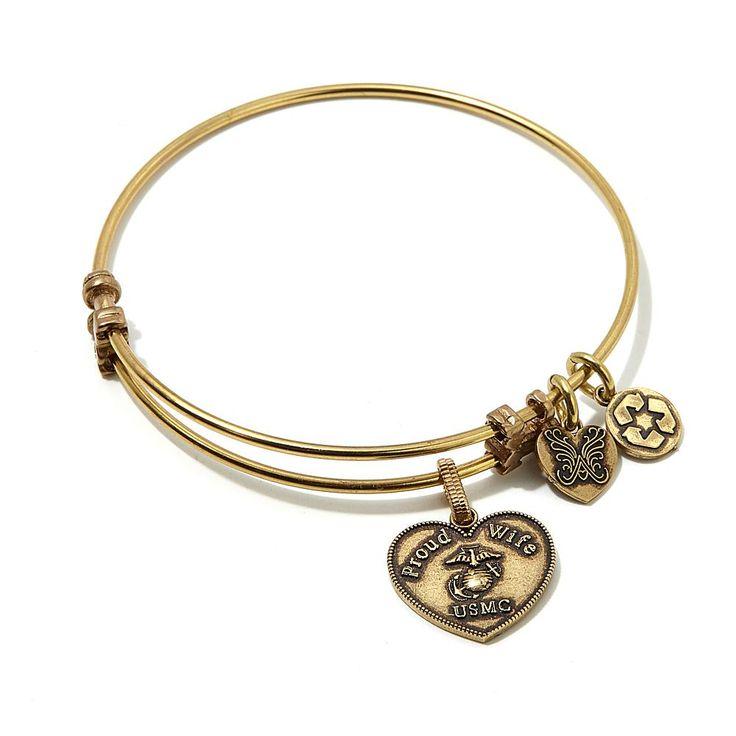 "Angelica Collection Angelica Proud Wife USMC 7"" Slide-Clasp Bangle Bracelet - Metallic"