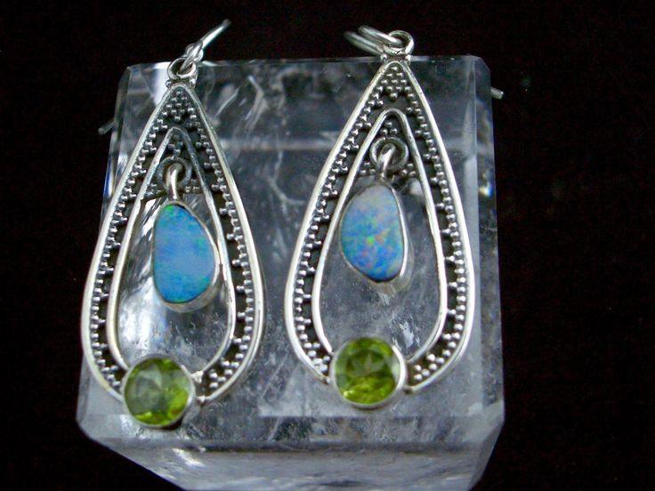 Australian Fire Opal and Peridot Genuine Gemstones 925 Sterling Silver Long Tear Drop-Shaped Statement Earrings!! by Ameogem on Etsy