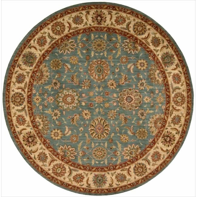 Nourison Living Treasures Aqua Rug (5'10 Round) (1), Blue, Size 6' x 6' (Wool, Floral)