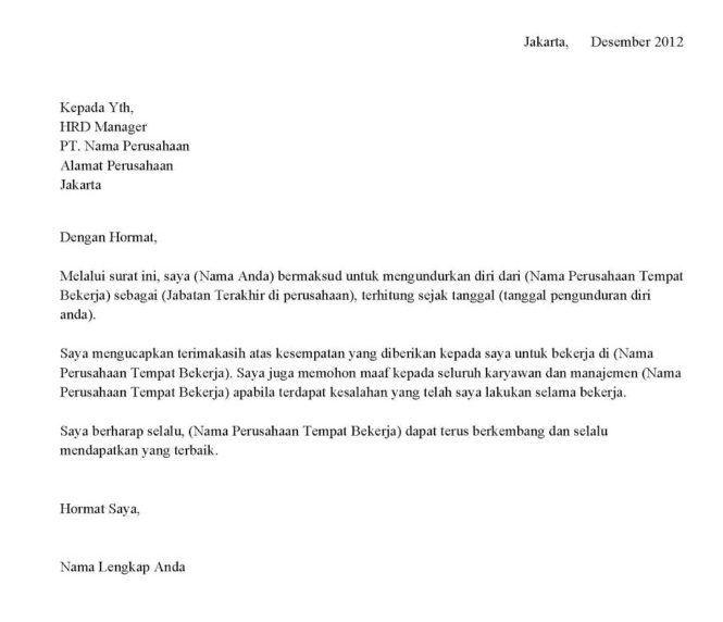 Contoh Surat Pengunduran Diri Resmi Dari Perusahaan Surat Pengunduran Diri Surat Pendiri