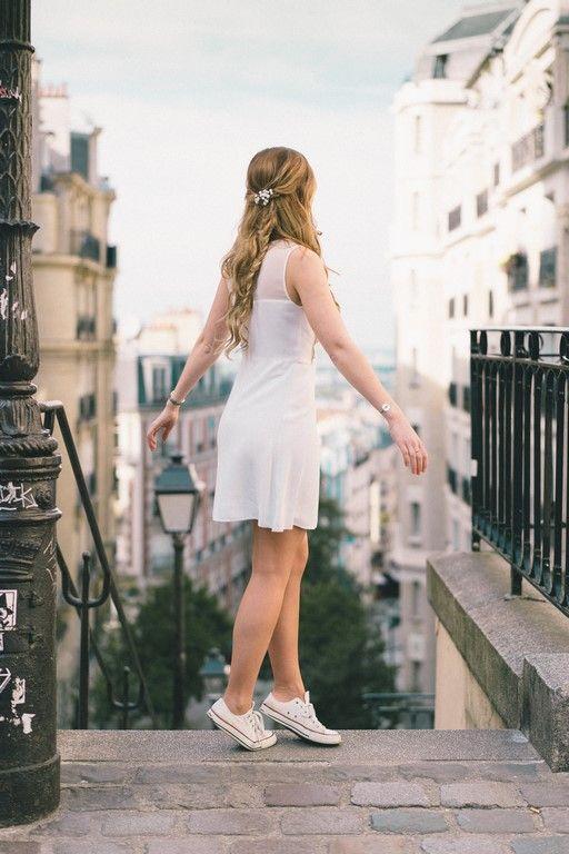 Coiffure mariage civil bohème à Paris Montmartre