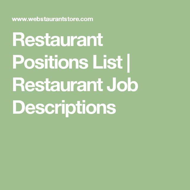 Přes 25 nejlepších nápadů na téma Restaurant Jobs na Pinterestu - bar manager job description