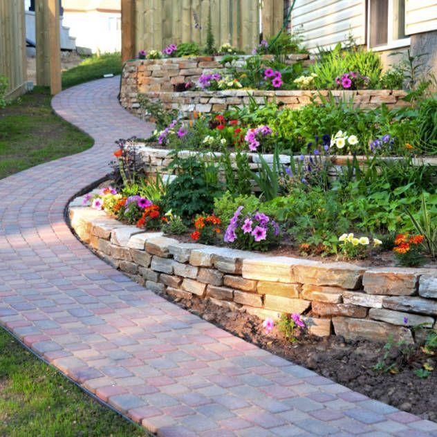 Retaining Wall Ideas For Sloped Backyard: 51 Best Sloped Yard Designs & Retaining Walls Images On