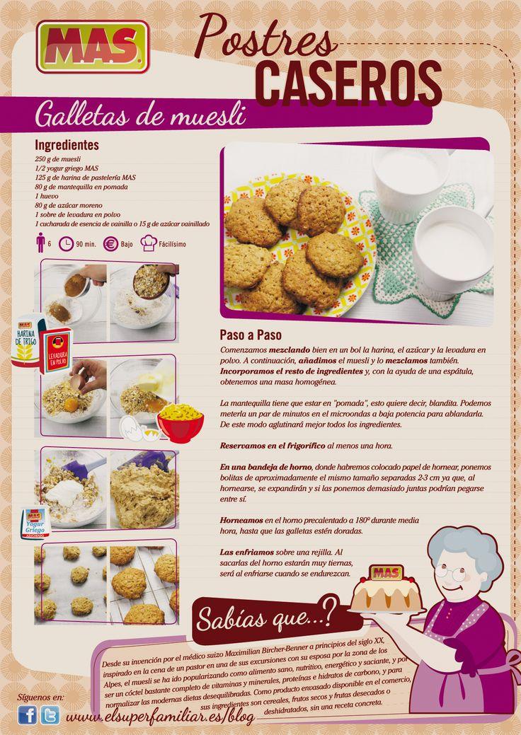 ¡Galletas muy sanas! Galletas de muesli, ¿quieres prepararlas en casa? ¡sigue nuestra #receta!    #infografia #inforecetas #reposteria