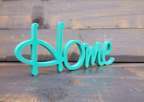 Home Sign In Turquoise  Wood Sign Home HOME wood sign by SunFla, $48.00