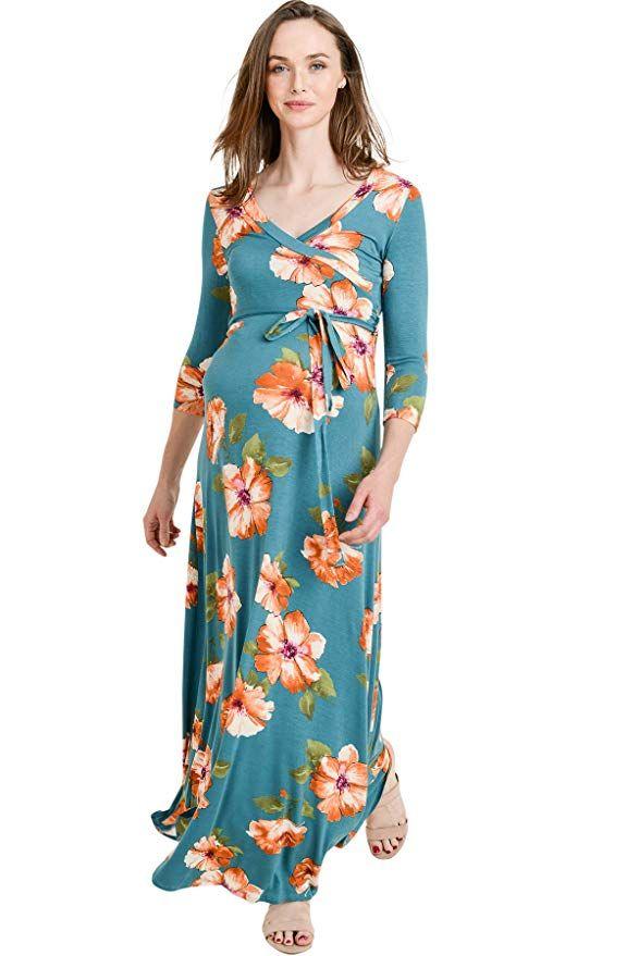 dad1033bff3a7 Hello MIZ Women's Maternity Maxi Dress with Waist Belt at Amazon Women's  Clothing store: