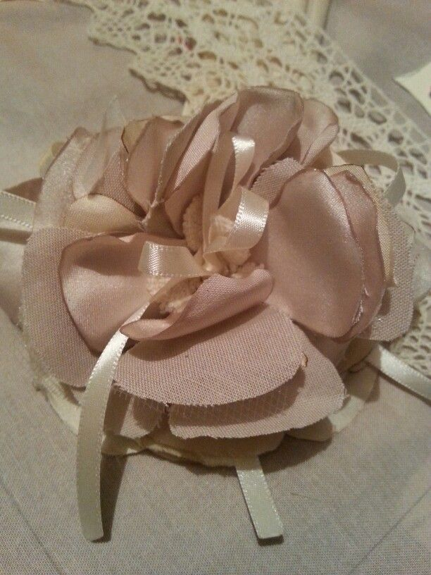 silk satin and ribbon flower handmade by me