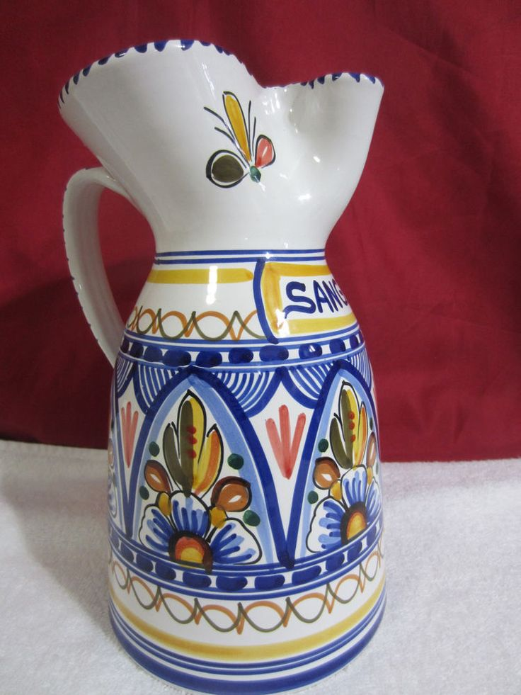 Beautiful Colored Hand Made Sangria Pitcher 2 Qt Puente Arzobispo Toledo Spain   #SpanishArtPottery