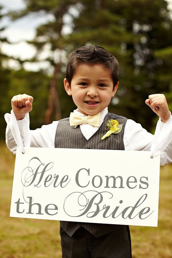 """I have 2 flower girls & I would LOVE to have them carrying this sign when they walk down the isle. The reverse side of the sign says """"And they lived happily ever after"""" for the walk down the isle after the ceremony....LOVE IT!!!!"""