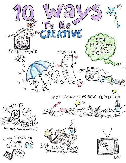 """10 Ways to be Creative."" Tools and tips about how to be successful as a woman, in your career and/or in business. These tools work well with success, motivation and inspirational quotes. For more great inspiration follow us at 1StrongWoman."