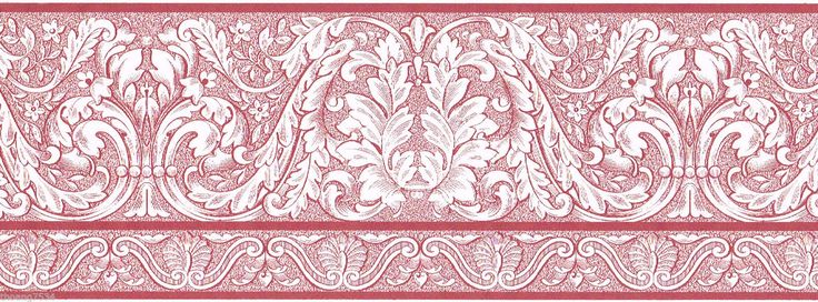 Victorian Damask Red White Toile Scroll Acanthus Leaf Wall