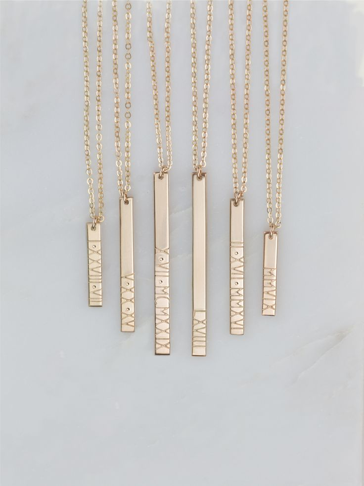 Custom Roman Numeral Bar Necklaces - lots of lengths to choose from!  Super nice quality pieces too :)