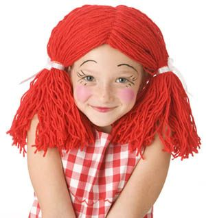 Rag-doll yarn wig pattern from @Lion Brand Yarn - perfect for costume parties, Halloween, school projects, plays