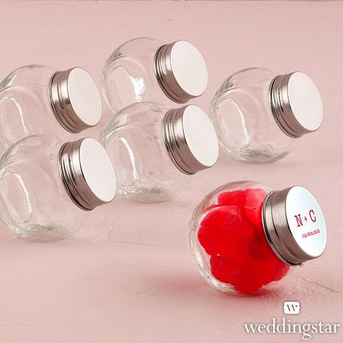 Small Plastic Candy Jars | ... supplies > wedding favor containers > Mini Glass Candy Jar With Lid
