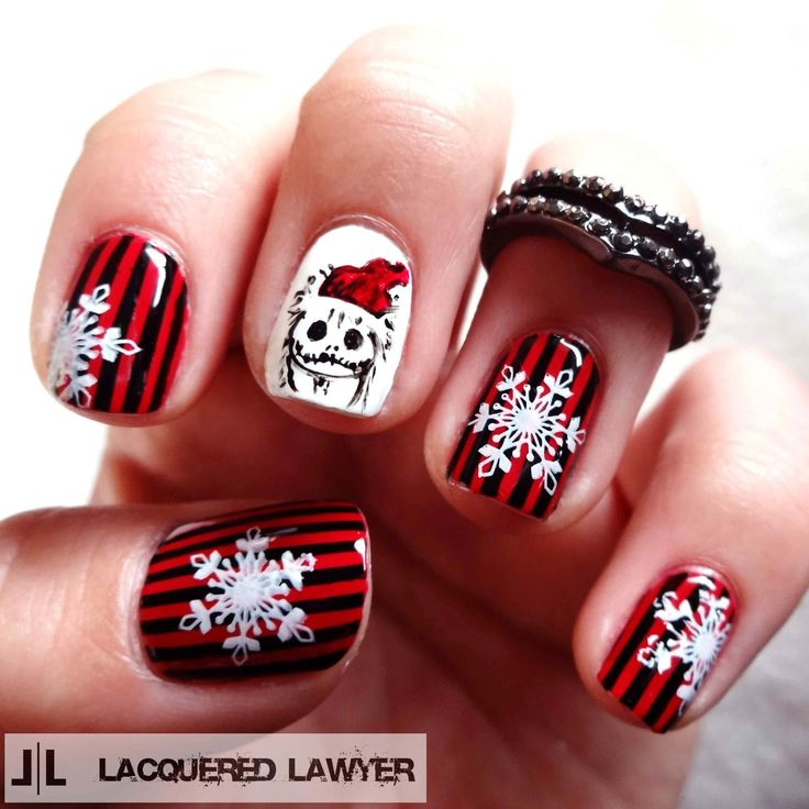 Lacquered Lawyer | Nail Art Blog: Sandy Claws | Nightmare Before Christmas Nails