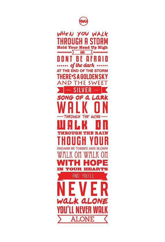 YNWA Lyrics Liverpool FC Print White by KieranCarrollDesign