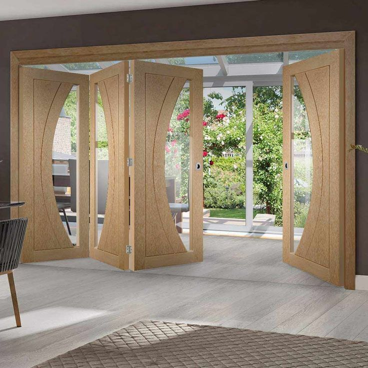 Thrufold Salerno Oak 3+1 Folding Door - Clear Glass - Lifestyle Image - #doors #foldingdoors #home