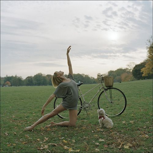 To see more images from the Ballerina Project subscribe to our new website:  http://ballerinaproject.com/: Projects, Ballerinaproject, Ballerina Project, Ballerinas, Dog, Ballet, Photography, Bicycle