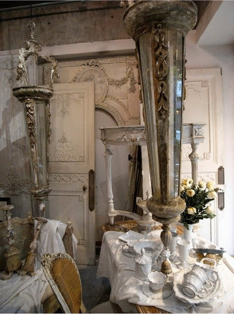antique wall panels, french chair with original jute covering