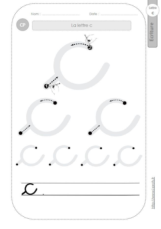 la lettre c au CP:FICHES d'ECRITURE. Modèles d'écriture