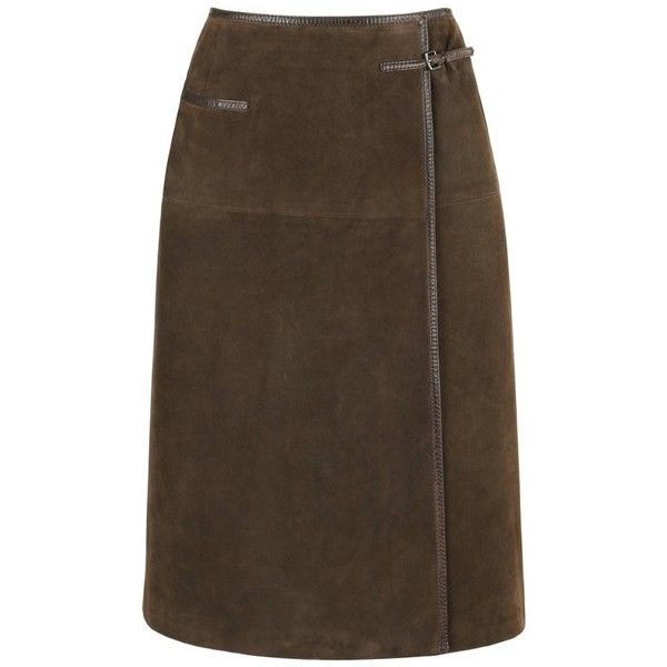 Preowned Hermes Sport C.1970's Brown Suede Leather Wrap Skirt ($694) ❤ liked on Polyvore featuring skirts, brown, wrap skirts, sport skirts, sports skirts, panel skirt, lined skirt and suede skirt