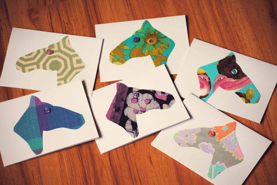 Horse Head Fabric Notecards with Button Eye Detail- Set of 6 Blank Cards in 6 Different Fabrics with Envelopes EQUESTRIAN