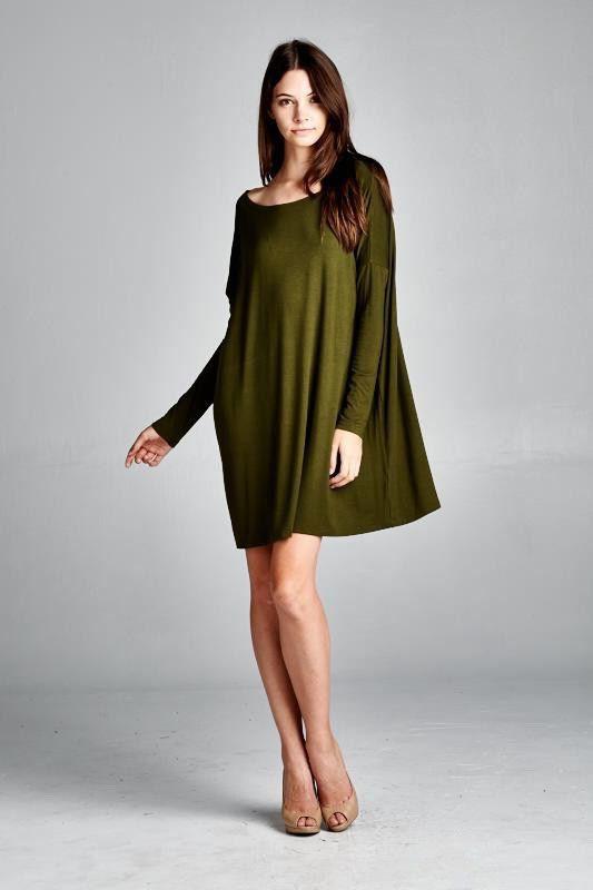 Walk This Way Oversized Tunic Dress - Olive RESTOCKED!