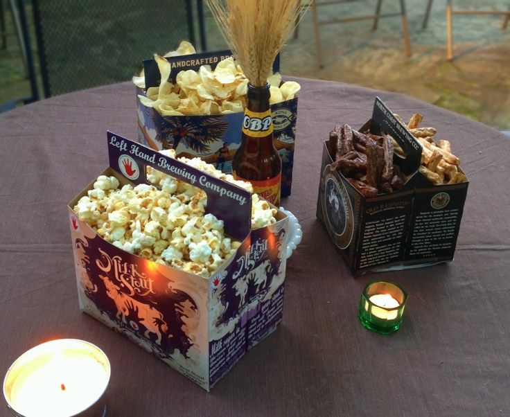 Serve snacks in beer boxes for a beer tasting party ok for What to serve at a bbq birthday party
