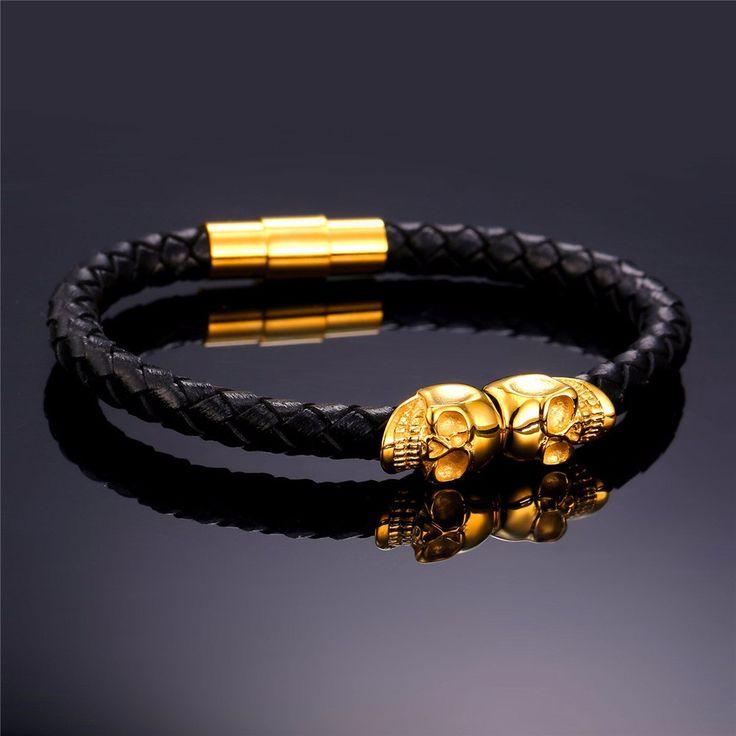 Double Golden Skulls charm leather bracelet.