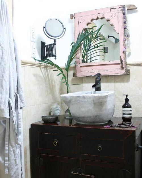 #bathroom #linen bathrobe #turkishhammamsink #blush #indianmirror #bohemiandecor #boho #gypsy #rustic #globaldecor #apartmentf15