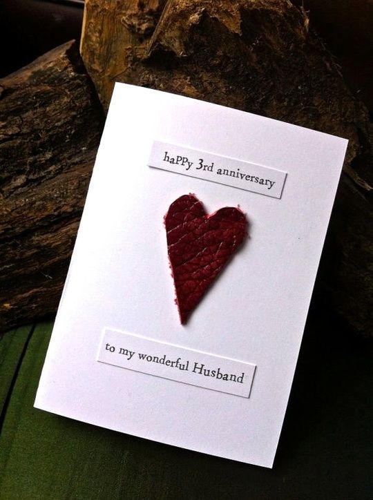 photo of 3rd wedding anniversary card leather traditional
