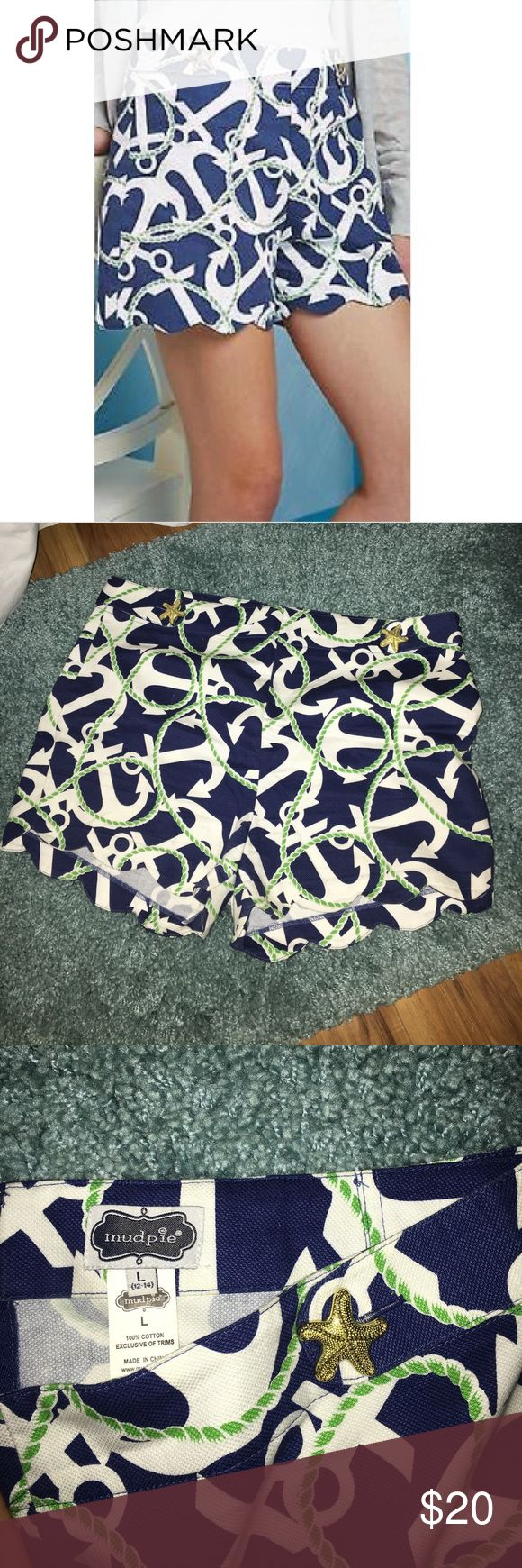mud pie scalloped anchor shorts super cute preppy anchor shorts by mud pie! great condition, only worn a few times bc they were too big on me. Mud Pie Shorts
